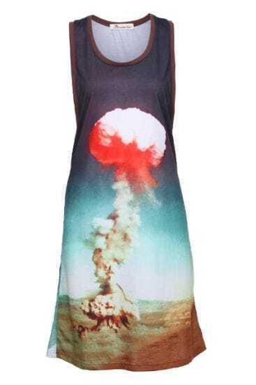 Cloud Printed Purple Tank Dress