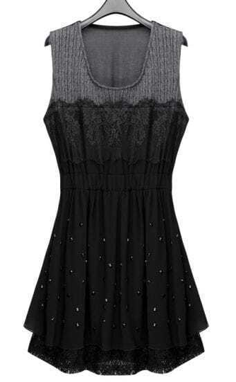 Black Sleeveless Lace Beading Pleated Chiffon Short Dress