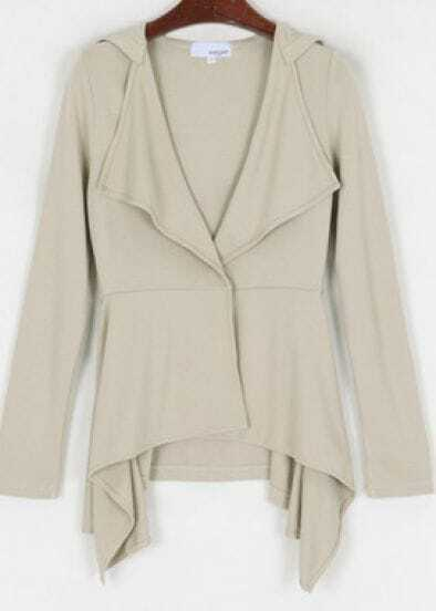 Apricot Long Sleeve Hoodie Draped Collar Asymmetric Hem Coat