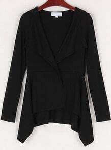 Black Long Sleeve Hoodie Draped Collar Asymmetric Hem Coat