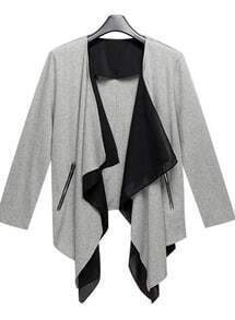 Grey Draped Collar Crop Sleeve Coat