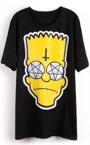 Black Short Sleeve Simpson Cross Print T-Shirt