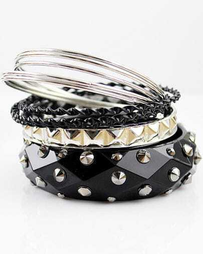 Black Multilayer Rivet Bracelet