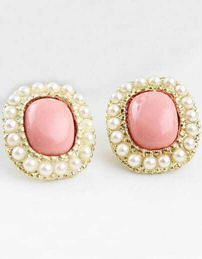 Red Gemstone Gold Pearls Stud Earrings