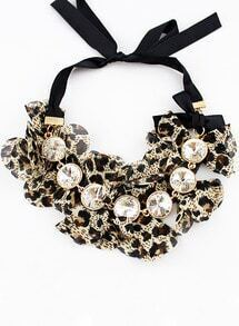 Leopard Bow Crystal Necklace