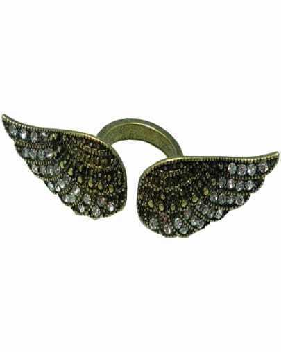 Retro Gold Crystal Wing Ring