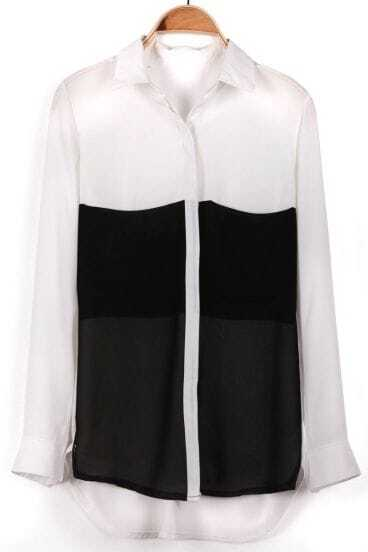 White Black Long Sleeve Cuff Buttons Blouse