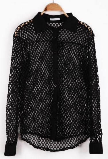 Black Long Sleeve Hollow Mesh Yoke Blouse