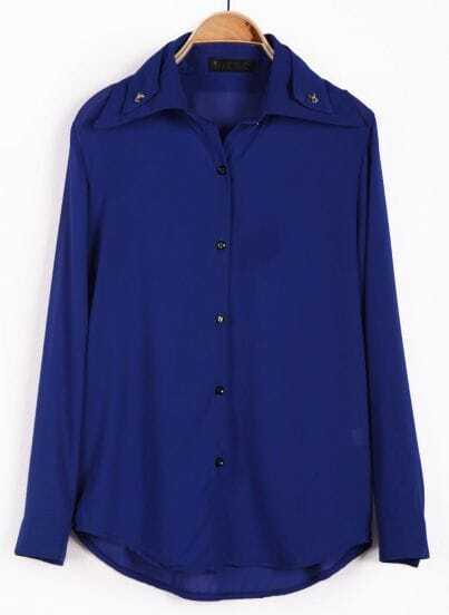 Blue Rivet Lapel Long Sleeve Chiffon Blouse