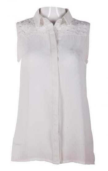White Lapel Sleeveless Beading Chiffon Blouse