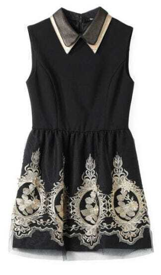 Black Lapel Sleeveless Embroidery Tank Dress