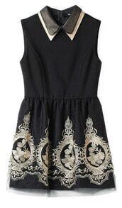 Black Lapel Sleeveless Embroidery Tank Dress