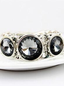 Black Gemstone Silver Chain Bracelet