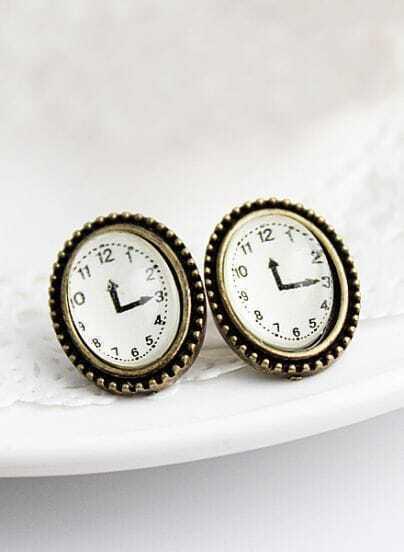 Retro Copper Clock Stud Earrings