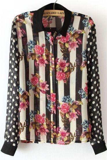 Black Dot Stripes Floral Print Chiffon Blouse