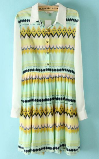 Light Green Waves Print Chiffon Shirt Dress