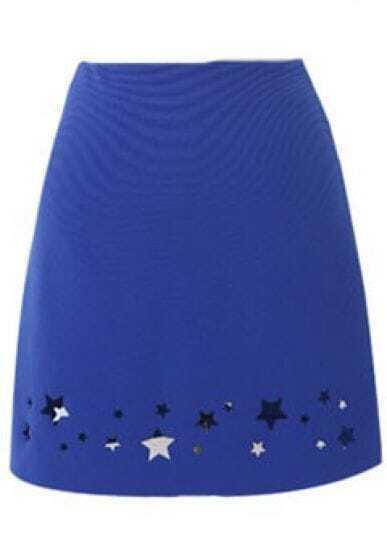Royal Blue Elastic Waist Cut Out Stars Short Skirt