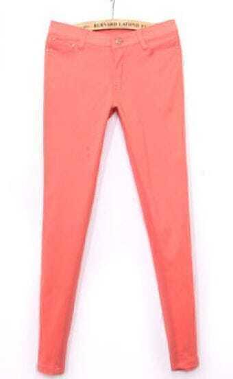 Pink Simple Skinny Crop Pant