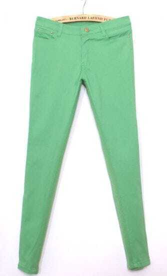 Green Simple Skinny Crop Pant