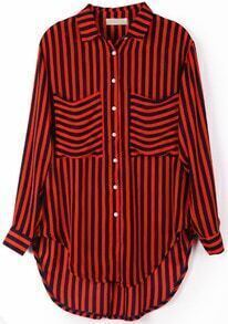 Navy Orange Vertical Stripe Pockets Chiffon Blouse