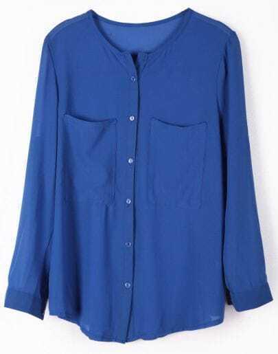 Blue Long Sleeve Pockets Chiffon Blouse