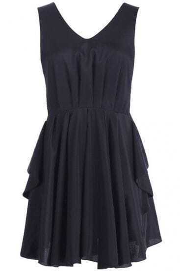 Black Cut-out Back Bow Pleated Shift Dress