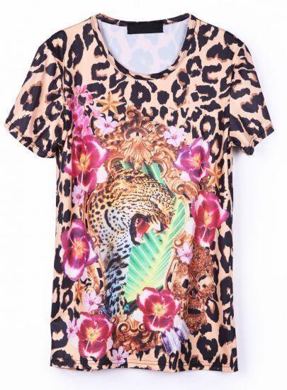 Leopard Short Sleeve Skull Print T-Shirt