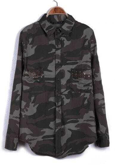 Green Camouflage Long Sleeve Rivet Pockets Blouse