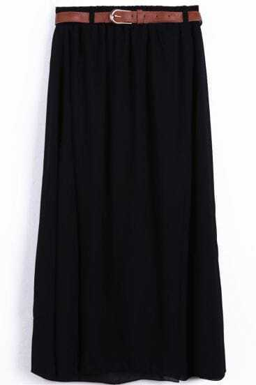 Black Belt Waist Chiffon Long Skirt