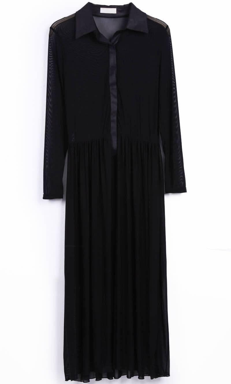 Black Long Sleeve Sheer Pleated Long Shirt Dress -SheIn(Sheinside)