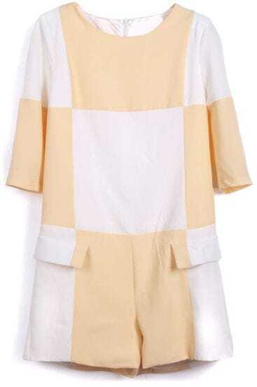 Yellow Contrast White Panel Crop Sleeve Pockets Jumpsuit