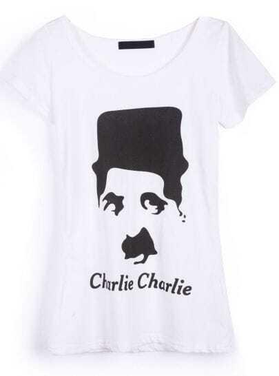 White Charlie Chaplin Print Short Sleeve T-shirt
