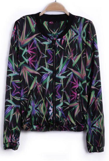 Black colorful Leafs Print Chiffon Jacket