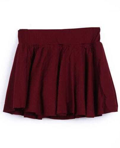 Wine Red Pleated Skater Skirt Shorts