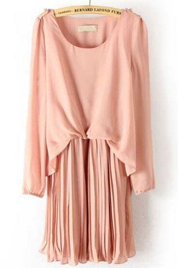 Pink Long Sleeve Epaulet Pleated Chiffon Dress
