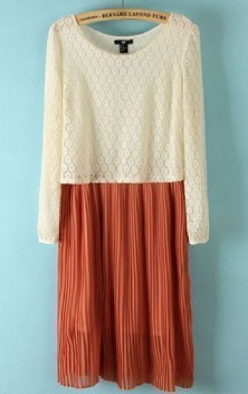 Beige Orange Long Sleeve Lace Pleated Dress