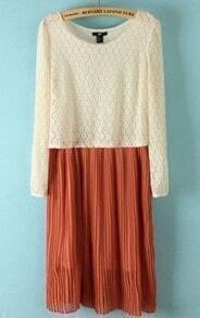 Beige Orange Long Sleeve Lace Pleated Dress