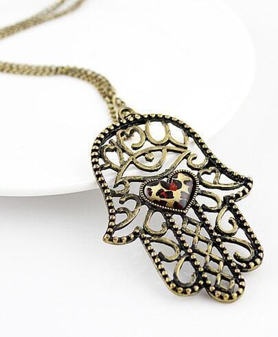 Vintage Leopard Heart Hollow Out Hand Necklace