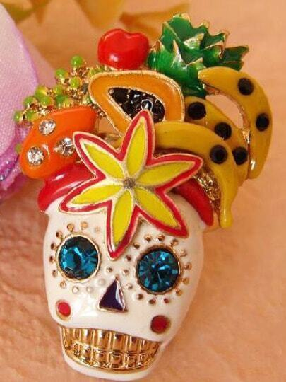 Individual Rhinestone Skull Fruit Flower Enamel Ring