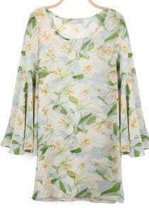 Green Ruffles Long Sleeve Lily Floral Ribbons Dress