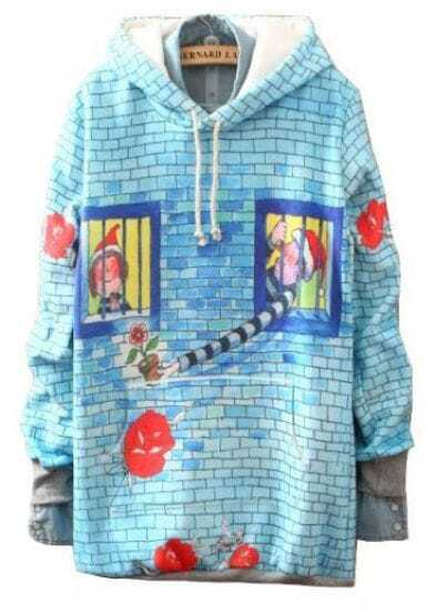 Blue Hooded Cartoon Print Loose Sweatshirt