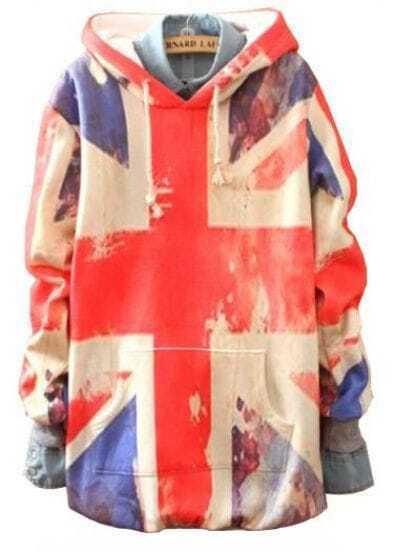 Beige Hooded Union Jack Print Loose Sweatshirt