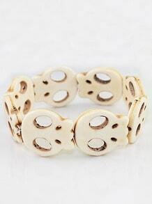 Fashion Individual Stretch Beige Skull Bracelet