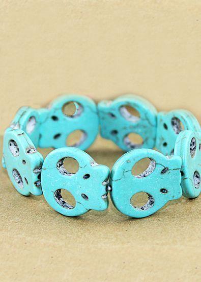 Fashion Individual Stretch Blue Skull Bracelet