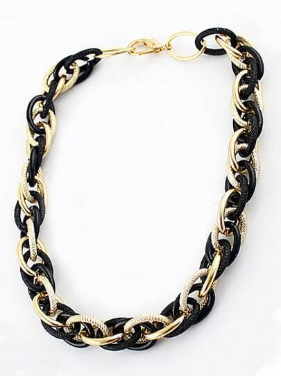 Gold black winding chain necklace shein sheinside for Wind chain online