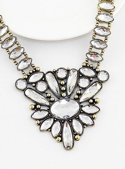 Vintage Rhinestone Drop Flower Necklace