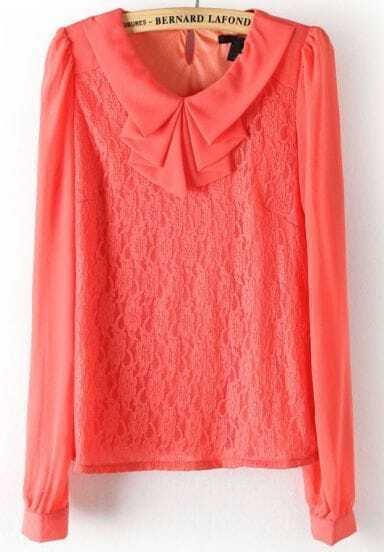Red Long Sleeve Ruffles Neck Lace Blouse