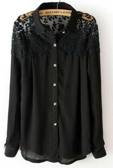 Black Long Sleeve Lace Shoulder Chiffon Blouse