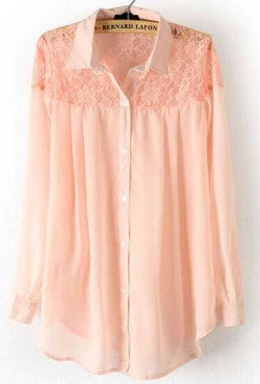 Pink Long Sleeve Shoulder Lace Hollow Chiffon Blouse