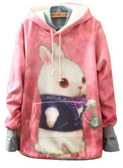 Pink Hooded Rabbit Print Cartoon Sweatshirt